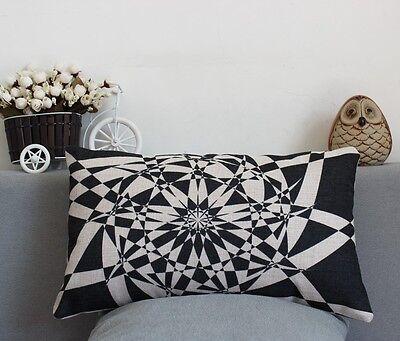 Linen cotton Rectangular PILLOW CASES CUSHION COVERS 30 X 50 Kaleidoscope black