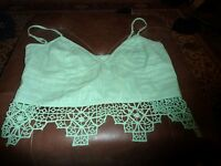 Imtimately Free People Light Green Crochet Bralette Cami Size Large