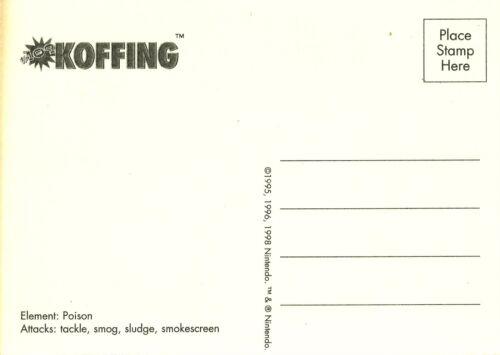 POKEMON POSTCARD YEAR 1998 KOFFING VINTAGE COLLECTIBLE ITEM