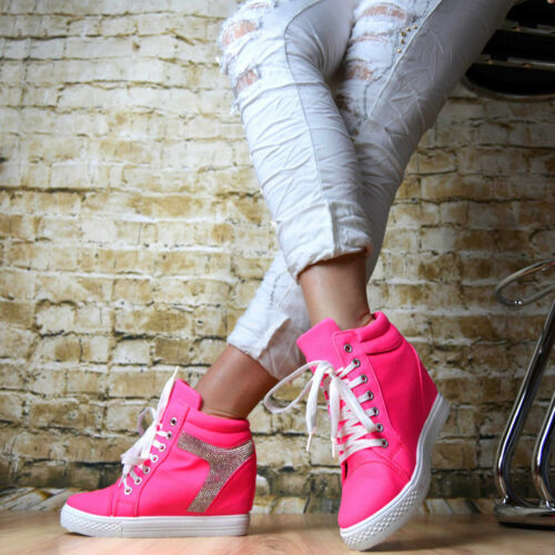 "Keilabsatz Sneaker Sportschuhe Hidden Wedges Stiefeletten Weiss !!/""/""/""/""/""$$$+/_+"