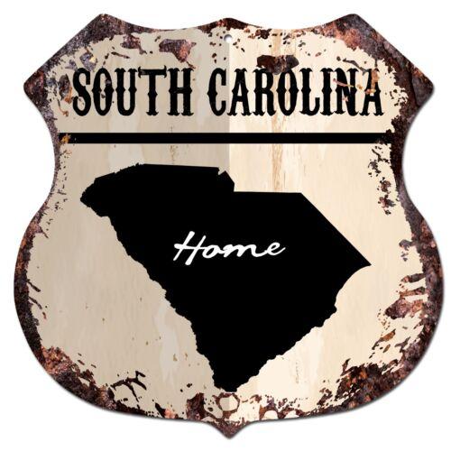 BP0155 HOME SOUTH CAROLINA MAP Shield Rustic Chic Sign Bar Shop Home Decor Gift