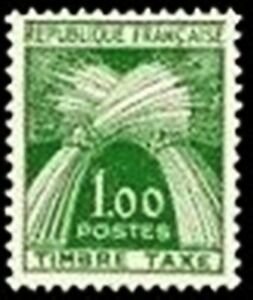 FRANCE-STAMP-TIMBRE-TAXE-N-94-034-TYPE-GERBES-1F-VERT-034-NEUF-xx-LUXE
