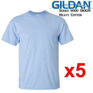 Gildan-T-SHIRT-Light-Blue-blank-plain-tee-S-M-L-XL-2XL-XXL-Men-039-s-Heavy-Cotton