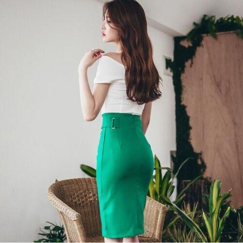 Completo Gonna Tubino Slim Verde Bianco Elegante Raffinato 3612 Top ABq661
