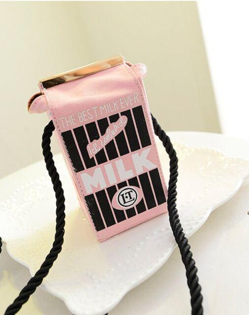 Hotsale Girls Milk Cartons Shoulder Bag Canvas Messenger Crossbody Bag Beauty LH