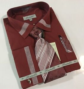 Men 39 s dress shirt combo real full tie hanky cufflinks set for Dress shirts and tie combos sale