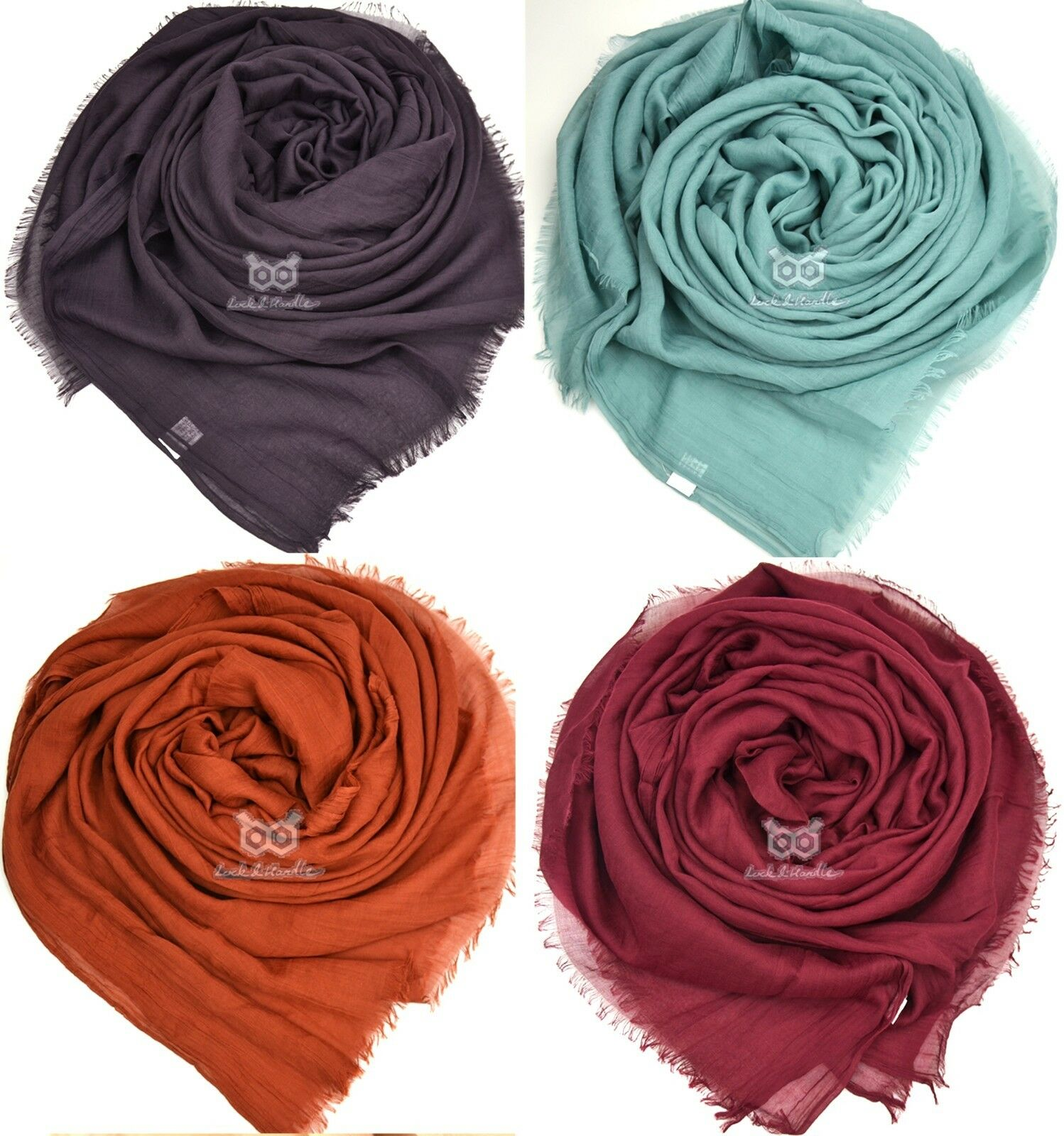 Premium Calidad Durable Sedoso Maxi Bufanda Hijab Sarong gran llanura BORDE deshilachado