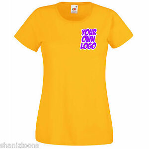 Ladies-Womens-Lady-Fit-Yellow-T-Shirt-Personalised-Text-Logo-Design