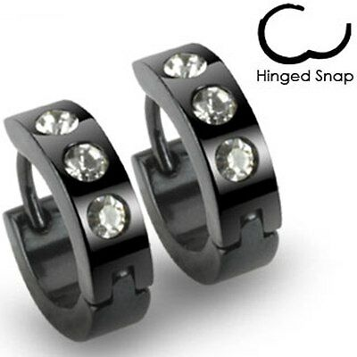 Mens Surgical Steel Black IP Huggie Hoop Hinged Earrings With 3 Clear CZ Gems
