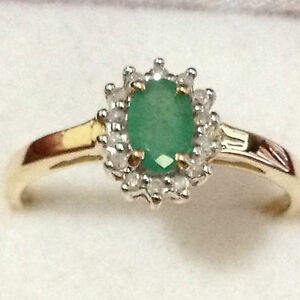 Real-9K-Solid-Yellow-Gold-0-57-TW-Genuine-Earth-Mine-Emerald-amp-Diamond-Halo-Ring