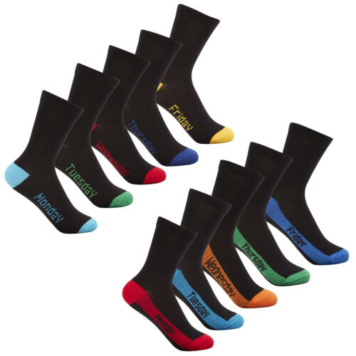 Boys Colourful Bright Heel Toe Design Socks 5 or 10 Pairs Cotton Rich School New