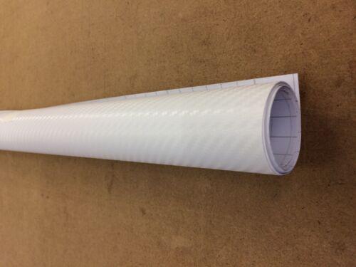 3D Carbon Fibre Car Motorbike Vinyl Vehicle Wrap Air//Bubble Free White