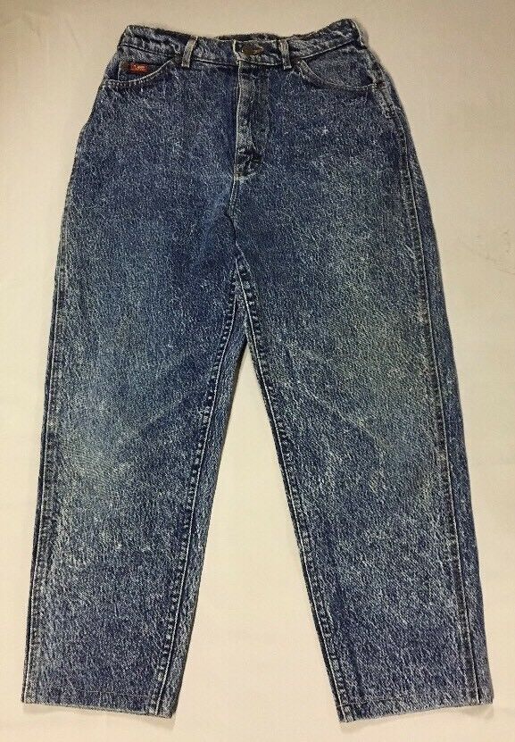 Vintage Womens Sz 10 Petite Lee Jeans High Waist Acid Washed bluee Denim