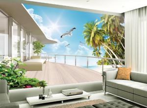 Papel Pintado Mural De Vellón Balcón De Pájaro Sol 1 Paisaje Fondo De Pansize