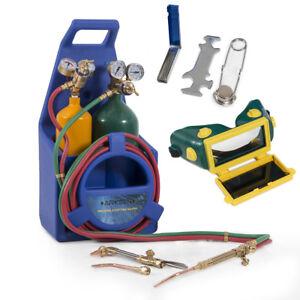 Portable-Type-Welding-amp-Cutting-Torch-Start-Kit-Oxygen-Acetylene-w-Tote-Tanks