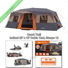 12 Person Ozark Trail Instant Cabin Tent 3Rm 20x10' Outdoor Camping Family Tents