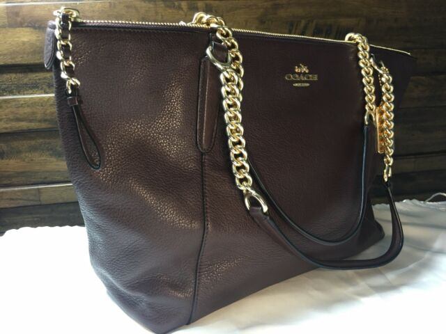 quite nice fashion style of 2019 select for genuine COACH F22211 PEBBLE LEATHER AVA CHAIN TOTE In OXBLOOD GOLD HARDWARE