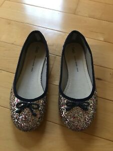 4ef526ad7bb Details about GAP Kids   Youth Girls Size 3 US   33 EU Silver Glitter Ballet  Flats Dress Shoes