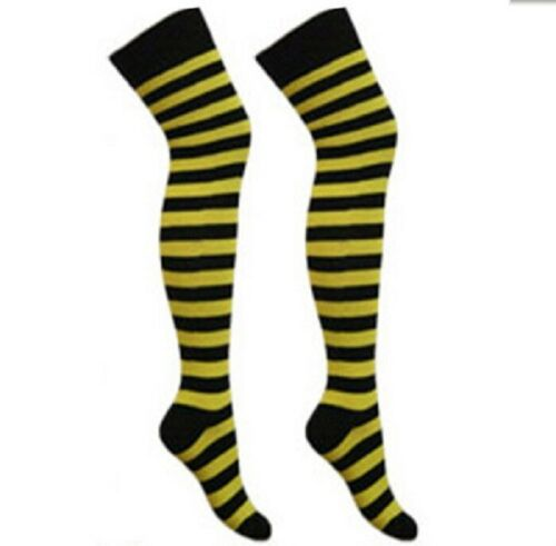 Ladies Girls Over The Knee Yellow /& Black Striped Socks Fancy Dress Bumble Bee