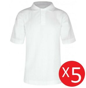 175e19671 5 Pack Boys Teflon™ School Polo Shirts - White Age 3 to 16 100 ...
