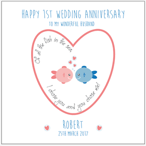 first wedding anniversary wishes for husband personalised 1st wedding anniversary card husband 14520