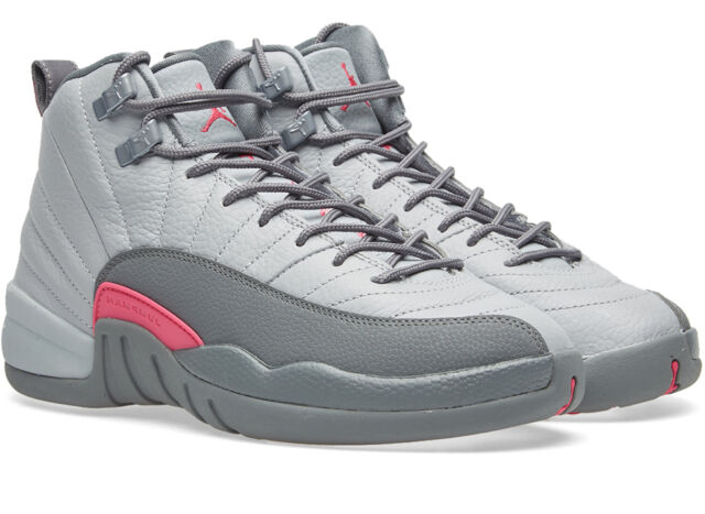 Air Jordan 12 Retro Big Kids 510815-029 Wolf Grey Vivid Pink Shoes Size 4 5f0b90889