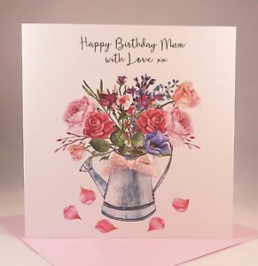 Image Is Loading Pretty Floral Birthday Card Ladies Wife Girlfriend Mother