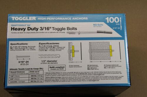 Toggler  SnapToggle BA  3//16  Heavy Duty Strap Snap Toggle Bolts  100  24013