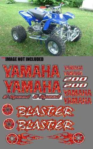 BLASTER RED PLASMA FIRE FLAME QUAD Graphics Stickers 16pc Decals Logos