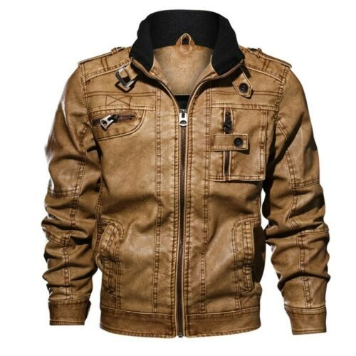 Men Motorcycle Jacket Leather Pocket Punk Zipper Slim Stand Collar Coat Outwear