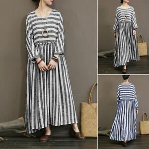 Mode-Femme-Robe-Decontracte-lache-Manchea-neuf-points-Col-Rond-Bande-Dresse-Plus