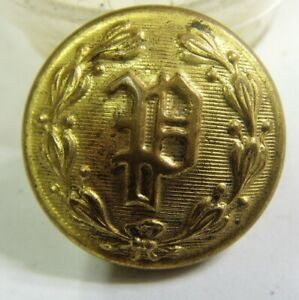 Antique Victorian Large Metal Picture Button SOLDIER w Mirrored Edge 1.38