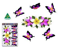 Flower Butterfly Car Sticker Pink Frangipani Plumeria Centre Decal Pk St046pk3