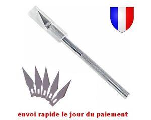 Scalpel-Cutter-de-Precision-en-Aluminium-Resistant-et-ou-5-10-Lames-de-Rechange