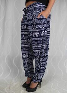 916-Sexy-Aladin-Pumphose-Leggins-Blau-Schwarz-Muster-Sommer-Leggings-Elefant