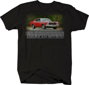 American-Hotrod-Chevy-Chevelle-SS-Red-V8-70-039-s-Muscle-Tshirt