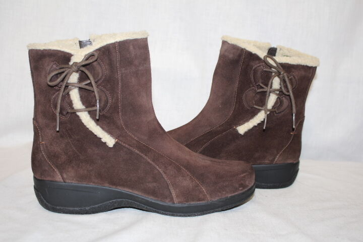 CLARKS Brown Leather Ankle Boots W Faux Fur Trim Womens Size 10M-B85