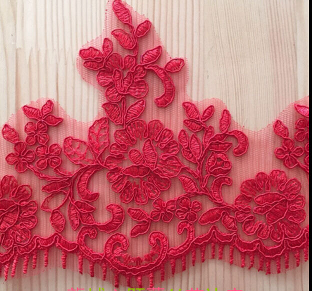 2 Yards Lace Trim Red Embroidery Eyelash Floral Wedding