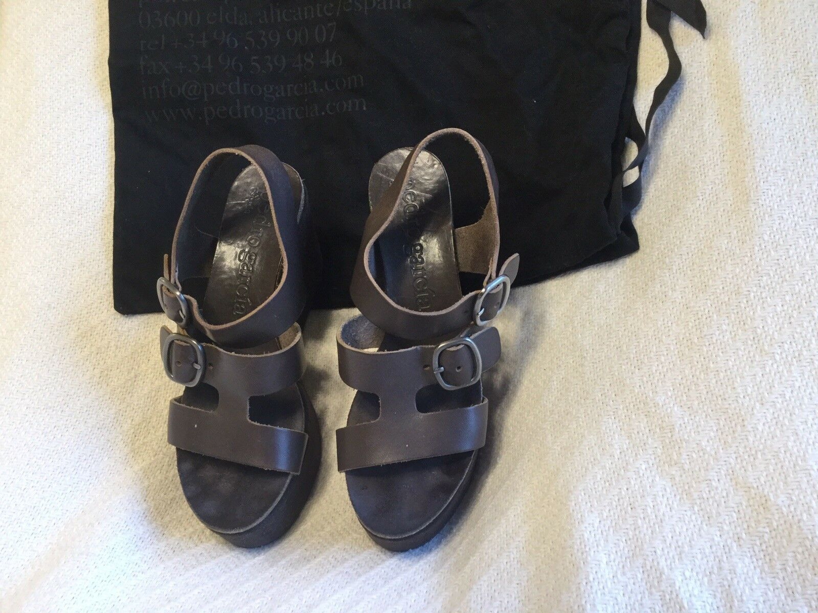 Beautiful Pedro Garcia Marronee Leather And And And Suede Platform Sandals  S 7.5 ebfbce
