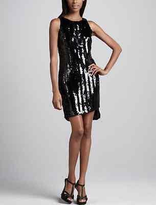 TAHARI BARI sequin black uneven hem sleevelss dress size 10 NWT