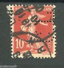 FRANCE 1906, timbre perforé 134, SEMEUSE, oblitéré PERFORE, PERFIN STAMP,