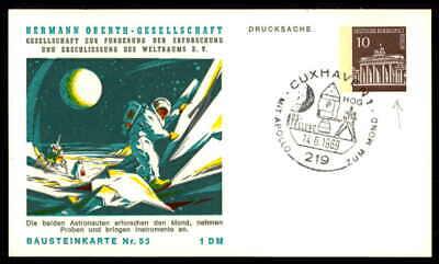 Berlin Privat-ga 1969 Weltraum Space Bausteinlarte 53 Hog Hermann Oberth Ep54 GroßE Vielfalt