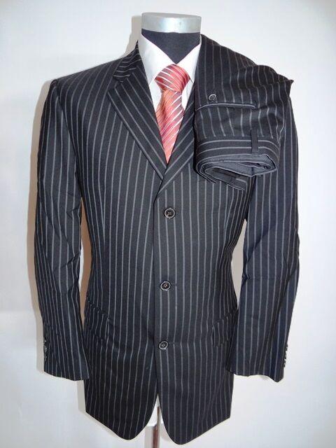 Joop Classic Anzug Sakko + Hose black Gestreift Schurwolle Gr. 50