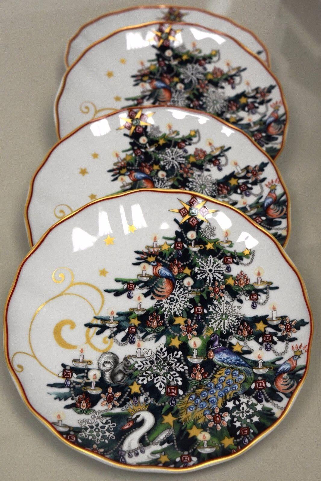 Nouveau TWAS THE NIGHT BEFORE CHRISTMAS Williams Sonoma Arbre assiettes à salade Lot de 4