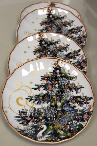 New TWAS THE NIGHT BEFORE CHRISTMAS  Williams Sonoma TREE Salad PLATES Set of 4