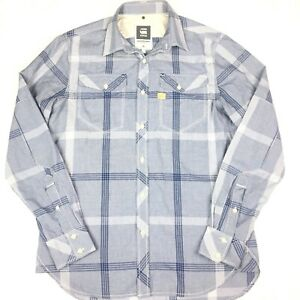 G-star-raw-Mens-Long-Sleeve-Button-Up-Tacoma-Shirt-Size-Large-Blue-Check