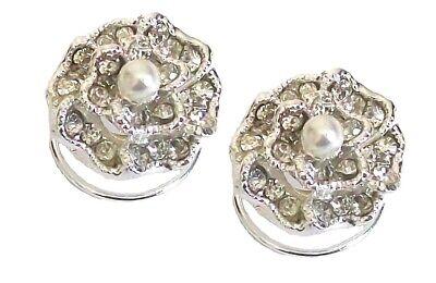 Argento Cristallo Diamante Perla Fiore Rosa Da Sera Da Cerimonia Spirali Mollette-mostra Il Titolo Originale Ottima Qualità