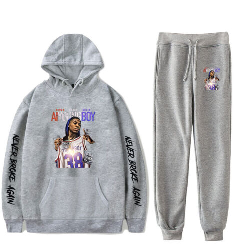 YoungBoy Never Broke Again Printed Hoodie Sweatshirt Pants Casual Set XXS~4XL