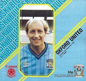 Football-Programme-gt-COVENTRY-CITY-v-OXFORD-UNITED-Sept-1985