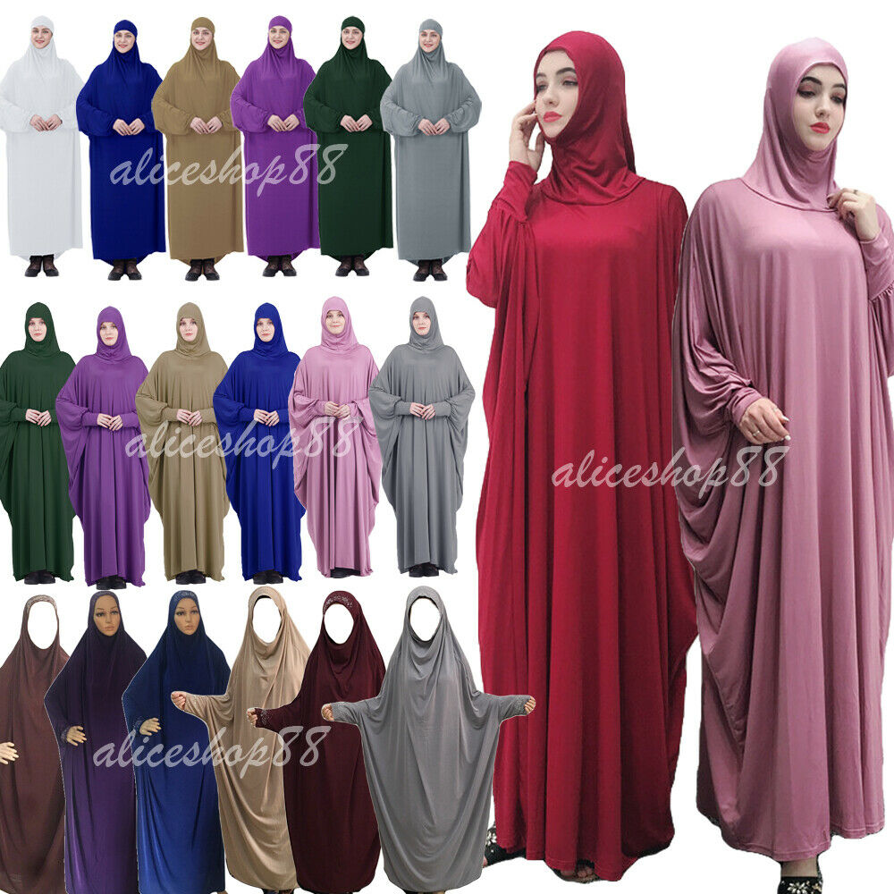 One Piece Muslim Women Prayer Dress Khimar Hijab Jilbab Overhead Abaya Kaftan